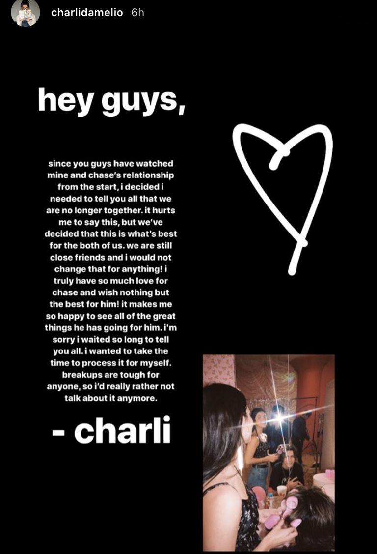 Charli D'Amelio status